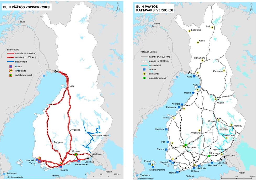 Ydinverkko ja kattava verkko Suomessa