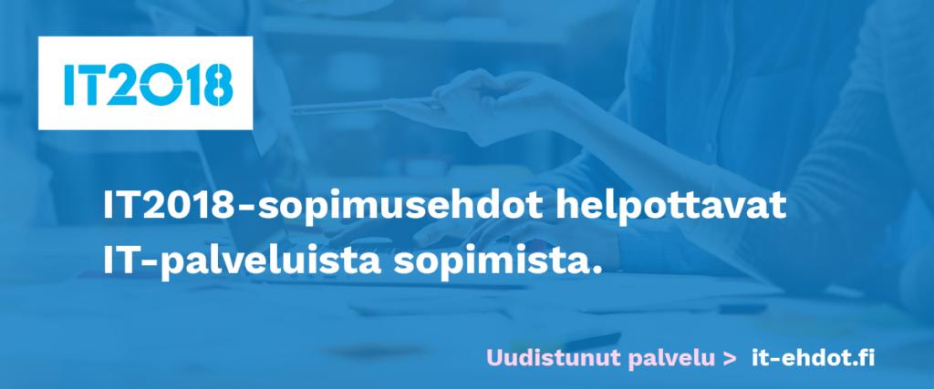 IT-ehtojen banneri, joka ohjaa it-ehdot.fi-sivustolle.