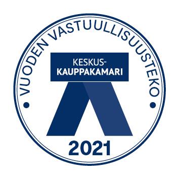 Vuoden vastuullisuusteko 2021 -palkinnon tunnus